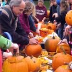 Carving pumpkins at Halloween